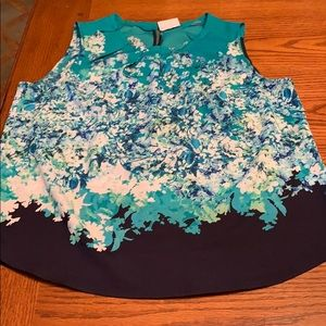 Floral sleeveless blouse, size L, New York & Co
